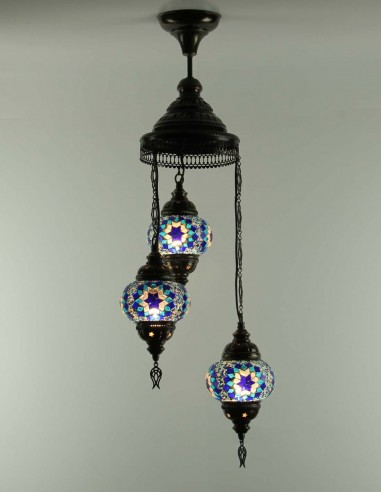 Spiral chandelier 3pc blue