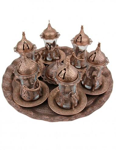 Service à thé turque familiale rouge