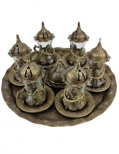 Family Turkish tea service bronze