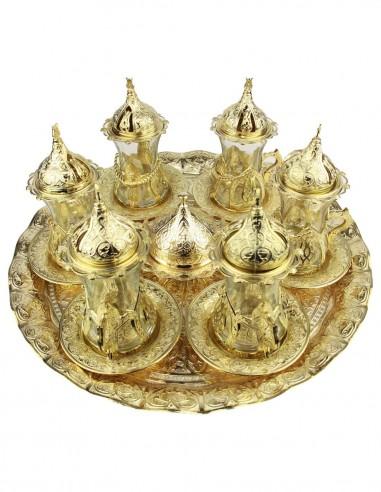 Service à thé turque familiale doré