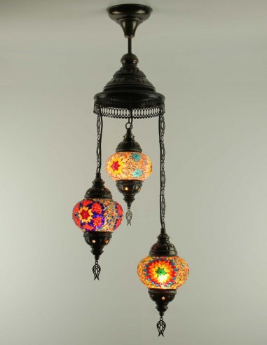 Spiral chandelier 3pc multicolors