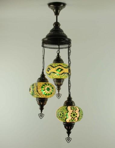 Spiral chandelier 3pc green