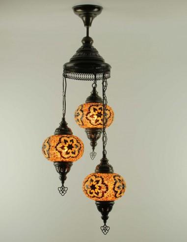 Spiral chandelier 3pc brown