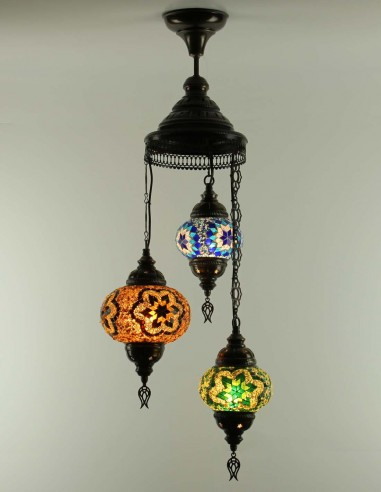 Spiral chandelier 3pc multicolors