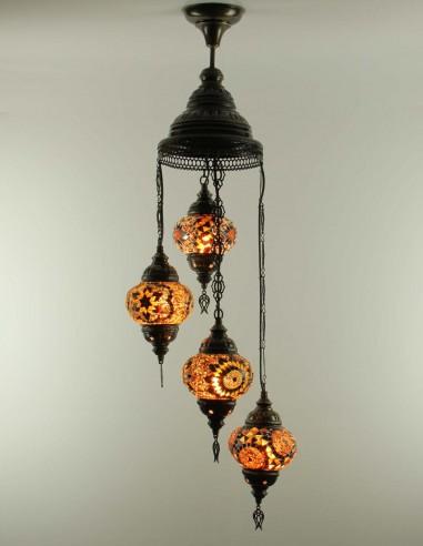 Spiral chandelier 4pc brown