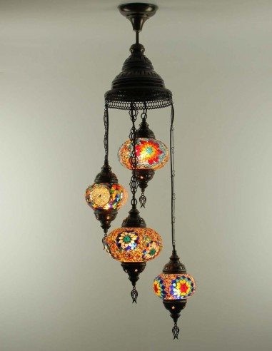 Spiral chandelier 4pc multicolors
