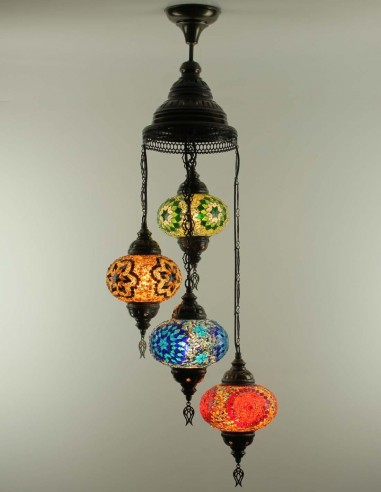 Spiral chandelier 4pc multicolors