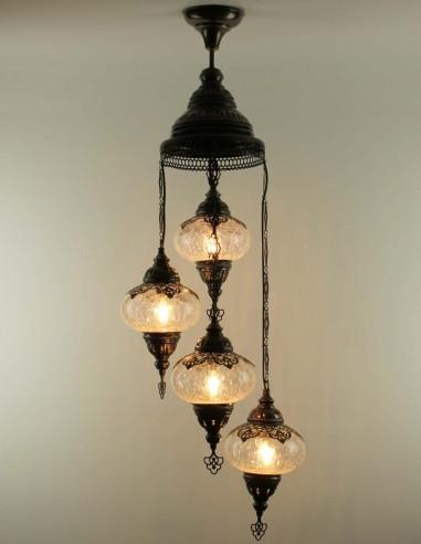 Spiral chandelier 4pc blown glass