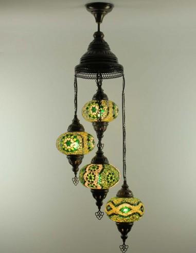 Spiral chandelier 4pc green