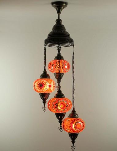 Spiral chandelier 4pc rouge