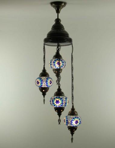 Spiral chandelier 4pc blue