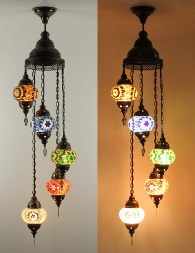 Spiral chandelier 5pc multicolors