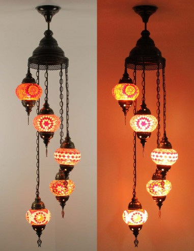 Lustre en spiral 5pc rouge
