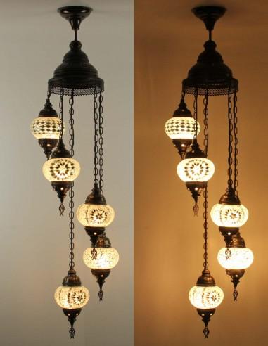 Spiral chandelier 5pc white