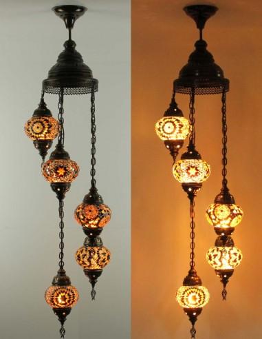 Spiral chandelier 5pc brown