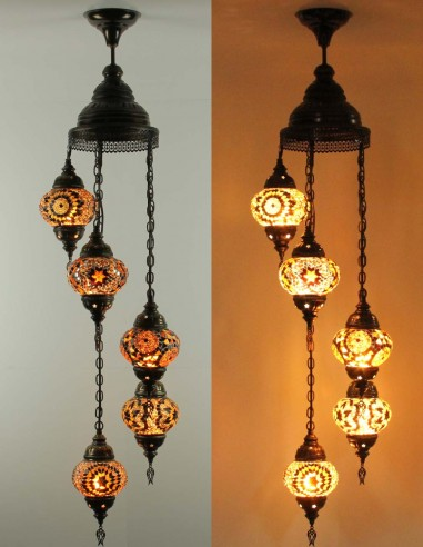 Lustre en spiral 5pc brune