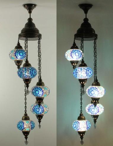 Spiral chandelier 5pc blue