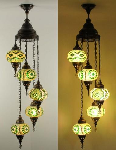 Spiral chandelier 5pc green