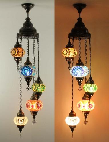 Spiral chandelier 5pc multicolors