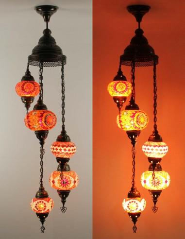 Spiral chandelier 5pc red