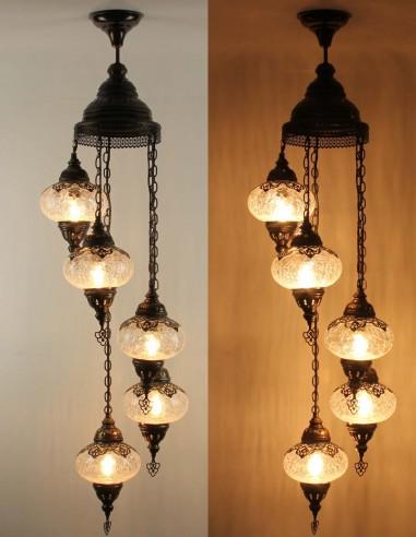Spiral chandelier 5pc blown glass