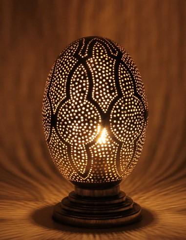 Lampe marocaine ajourée argentée Oeuf GT