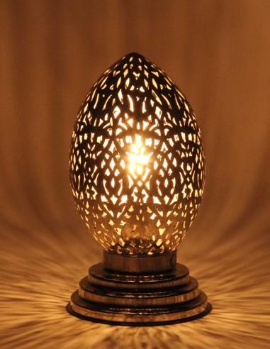 Lampe marocaine ajourée argentée Oeuf PT
