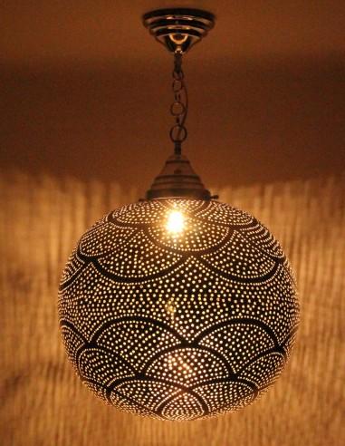 Silver openwork Moroccan chandelier...