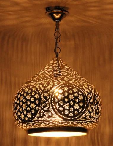 Lustre marocain ajourée argenté...