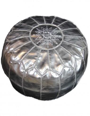 Moroccan ottoman Parachute silver