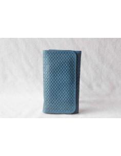 Portefeuille en cuir turquoise moyen motif 1