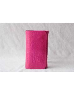 Portefeuille en cuir rose moyen motif 2