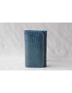 Portefeuille en cuir turquoise moyen motif 2