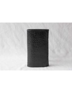 Portefeuille en cuir noir moyen motif 2