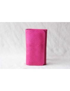 Portefeuille en cuir rose moyen motif 3