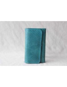Portefeuille en cuir turquoise moyen motif 3