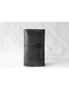 Portefeuille en cuir noir moyen motif 3